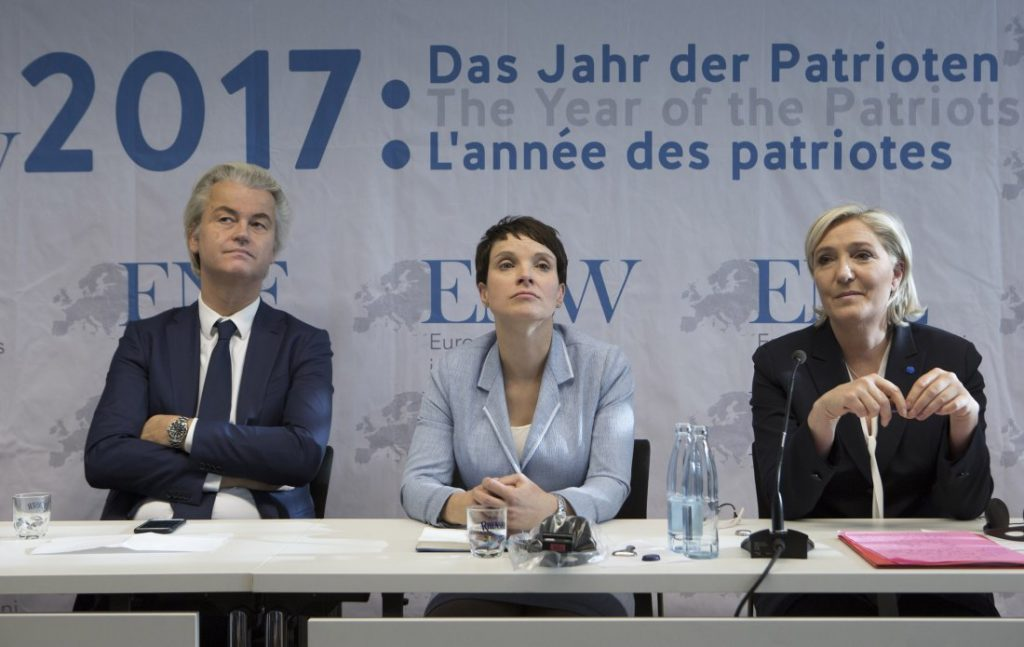 GERMANY. KOBLENZ - JANUARY 21: Congress Europe of Nations and Freedom of the ENF group in the European Parliament in Koblenz. Geert Wilders, chairman of the Partij voor de Vrijheid of the Netherlands, Frauke Petry (AfD) and Marine Le Pen, chairwoman of the Front National (FN) in France, during the press conference. (Photo by Ulrich Baumgarten via Getty Images)