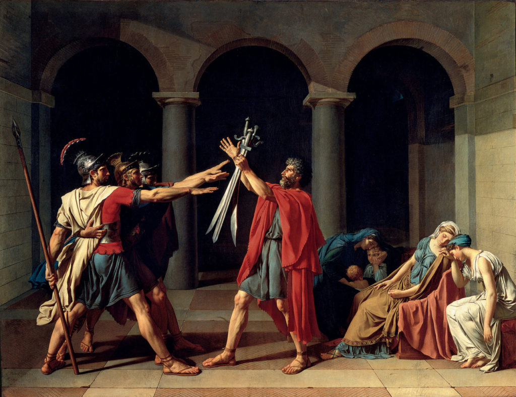 Jacques-Louis David, El juramento de los Horacios, 1784, Museo del Louvre. Image send to Robin Stolfi (Transaction : 632331760985156250) © RÈunion des MusÈes Nationaux / Art Resource, NY / Art Resource